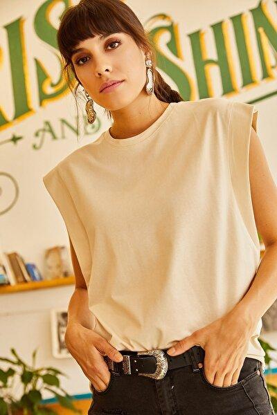 Kadın Taş Koltuk Altı Parçalı Yarasa Tişört TSH-19000330