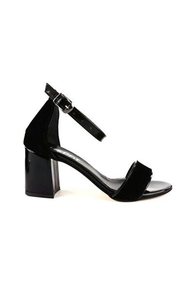 Kadın Siyah Yüzü Tek Bant Bilekten Bağlı Uzun Topuklu Ayakkabı 20y 2013-03