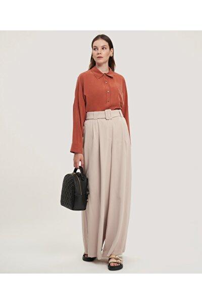 Kadın Bej Kemerli Pantolon Etek V142080124