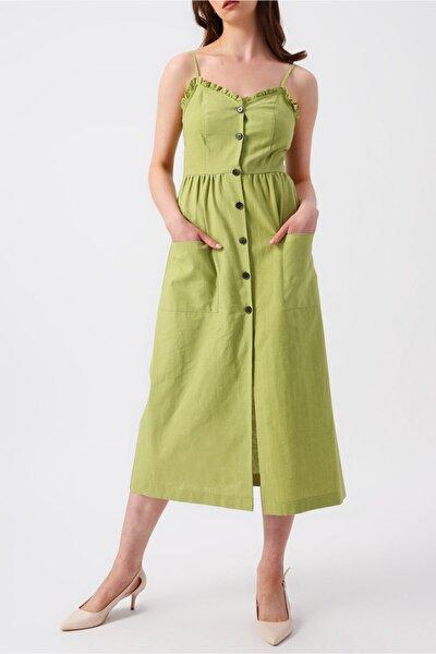 Kadın Yeşil Eteği Çift Cepli V Yakalı Askılı Midi Elbise