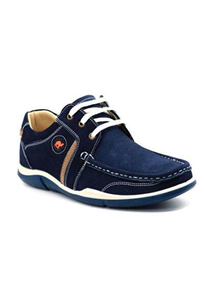 Erkek Lacivert Hakiki Deri Yazlık Ayakkabı