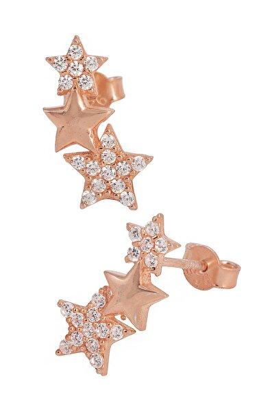 Kadın 925 Ayar Gümüş  3'lü Yıldız Küpe - Rose