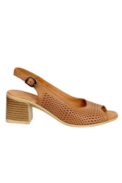 Kadın Taba Hakiki Deri Topuklu Ayakkabı