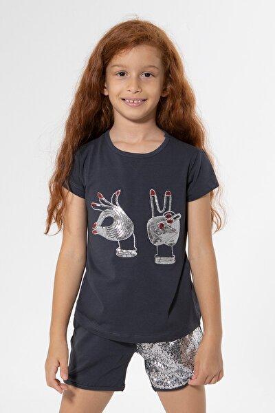 Kız Çocuk Antrasit Hand Payetli Tshirt