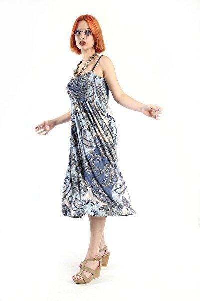 Kadın Elbise, Mavi Şal Desen, Göğüs Gipeli,ip Askılı,rahat Kesim
