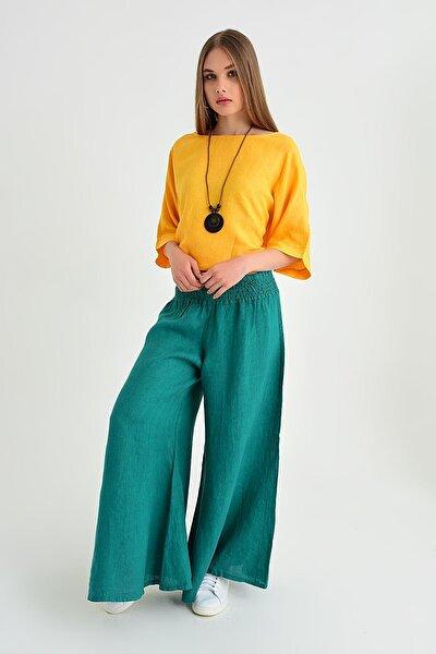 Kadın İtalyan Pantolon Yeşil Belı Lastık Keten Salaş Pantolon 19YIT144009