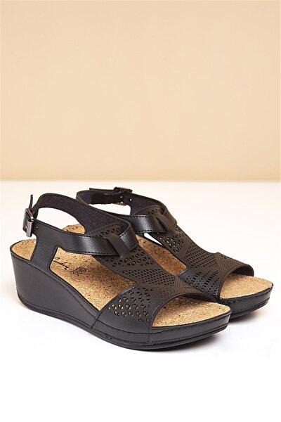 PC-1387 Siyah Kadın Sandalet