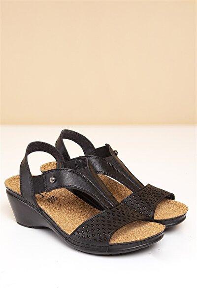 PC-1392 Siyah Kadın Sandalet