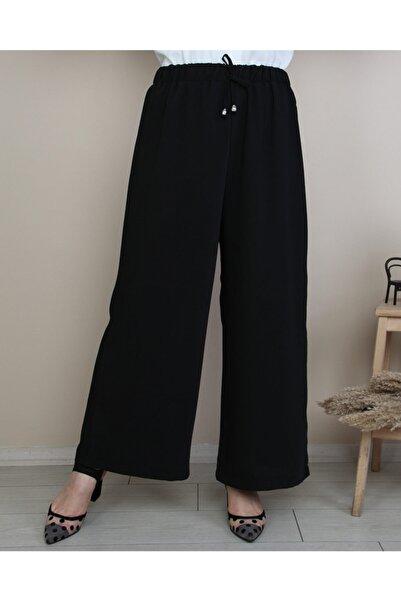 Beli Lastikli Ip Detaylı Bol Paça Dökümlü Pantolon