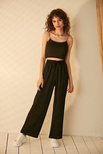 Kadın Siyah Aerobin Kumaş Pantolon