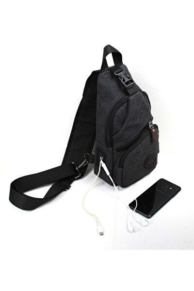 Kanvas Usb Çıkışlı Cross Bodybag
