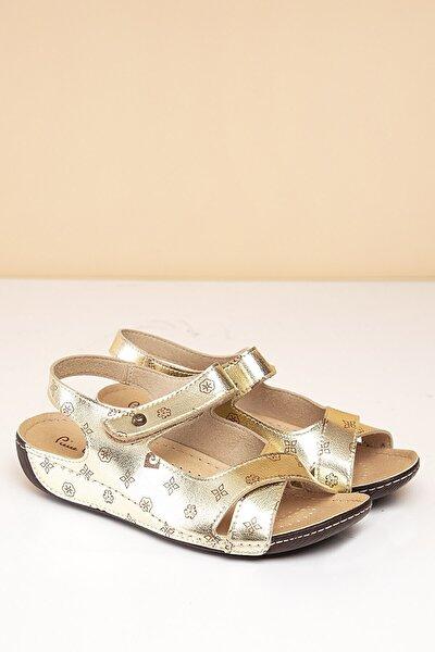 PC-1362 Altın-Kahve Kadın Sandalet