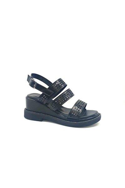 Kadın Siyah Taşlı Dolgu Topuklu Sandalet 431075