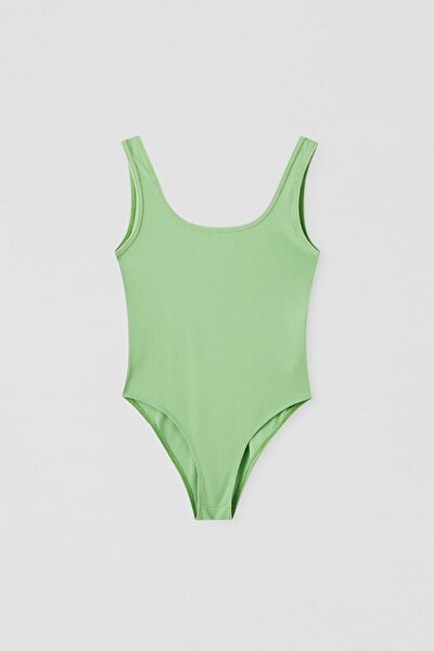 Kadın Limon Yeşili Basic Streç Askılı Body 05238317