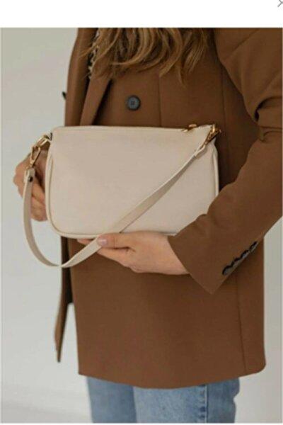 Kadın  Baget Çanta Çapraz Ve Omuz Askılı Krem