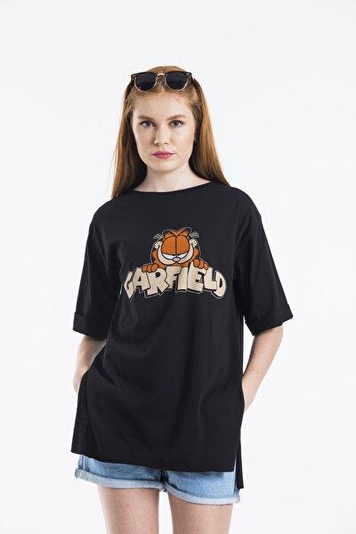 Kadın Siyah Baskılı Oversize T-shirt