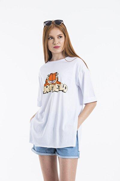 Kadın Beyaz Baskılı Oversize T-shirt