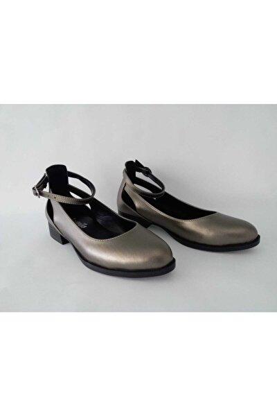 Kadın Platin Cilt Bilekten Bağlama Ayakkabı