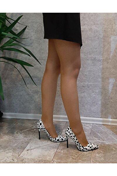 Kadın Siyah Beyaz Leopar Desen Stiletto