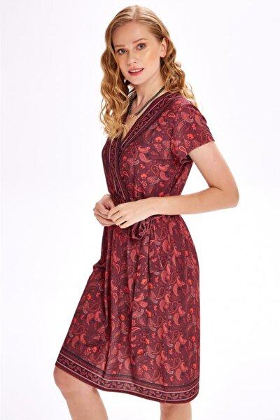 Kruvaze Yakalı Kısa Kol Şal Desen Elbise