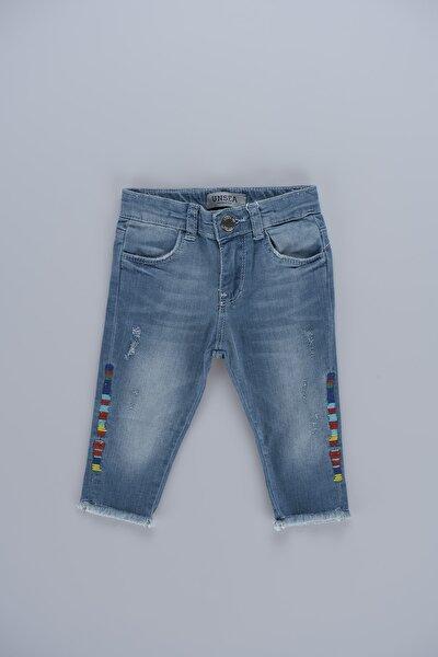 Kız Çocuk Mavi Desenli  Kot Pantolon 52334