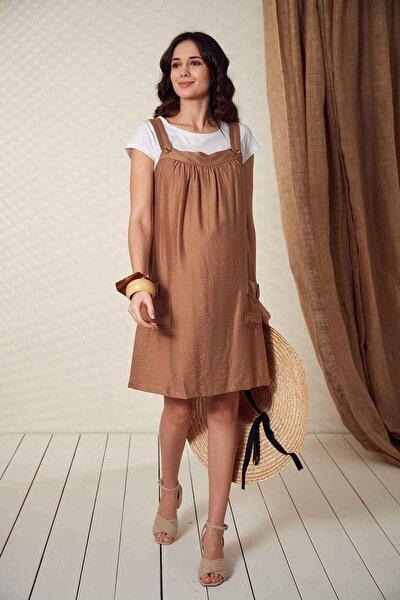 Kadın Düğme Detaylı Askılı  Vizon Hamile Elbise