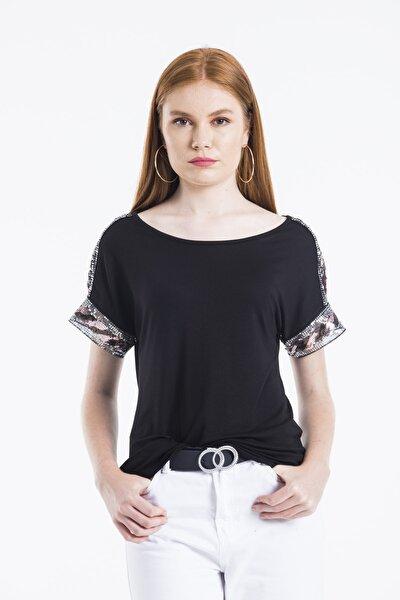 Kadın Siyah Kol Ve Omuz Pul Detaylı Bluz