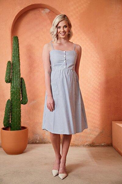 Gör&sin Askılı Çizgili Hamile Indigo Elbise