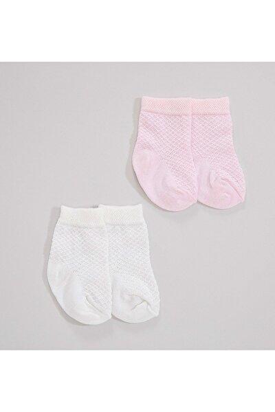 Leno 2'li Kız Çorap Pembe/Ekru