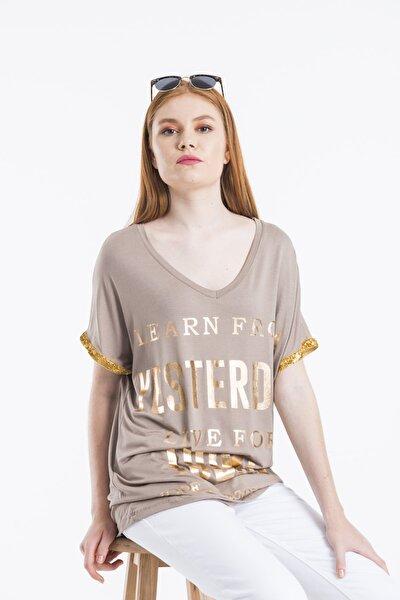 Kadın Vizon Varak Baskılı Kol Şeritli Bluz
