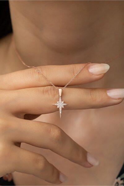 925 Ayar Gümüş Minik Kutup Yıldızı Kolye Kadın Gümüş Kolye