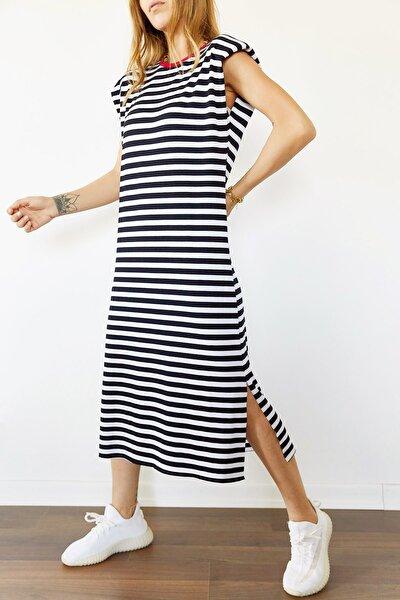 Kadın Siyah & Beyaz Vatkalı Çizgili Yanı Yırtmaçlı Elbise 0YXK6-43950-02 8699443950021