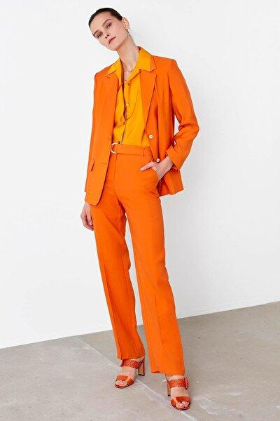 Kadın Turuncu Kemerli Yüksek Bel Pantolon IS1200003151162