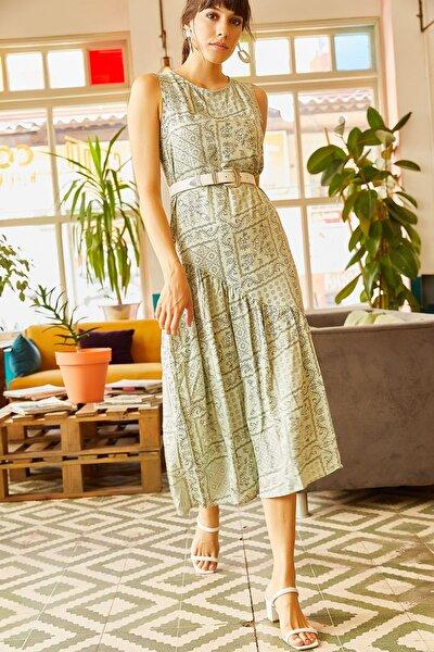 Kadın Su Yeşili Yanı Yırtmaçlı Sırtı Fermuarlı Viskon Elbise ELB-19001177