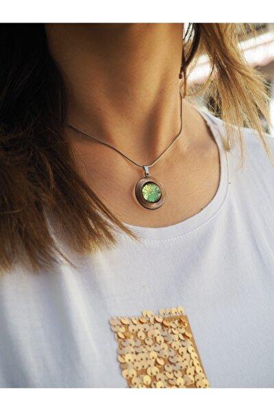 Yeşil Venecia Madalyon Cam Kolye