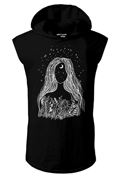 Unisex Siyah Dreamoon Tasarım Kapşonlu Kolsuz T-shirt
