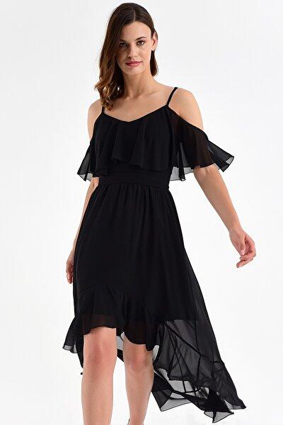 Kadın Siyah Ayarlanabilir Askılı Yaka ve Etek ucu Volanlı Asimetrik Şifon Elbise 20L6815