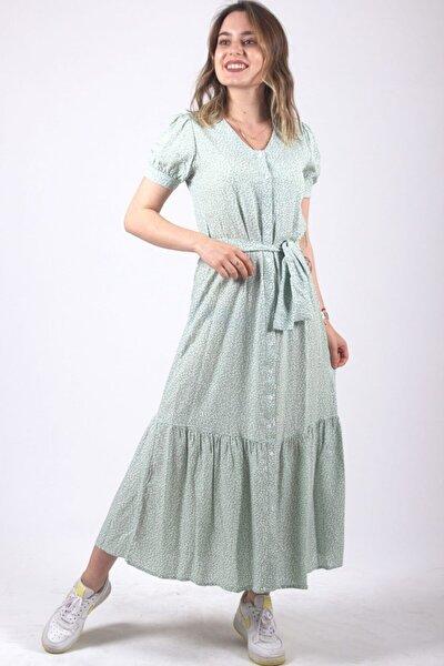 Kadın Yeşil Desenli Elbise