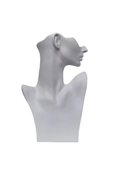 Yeni Polyester Boyalı Beyaz Kolye Küpe Manken (aydındecor)