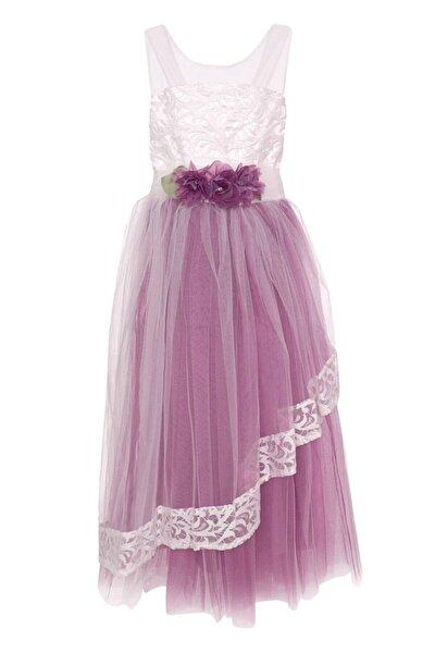 Kız Çocuk Mor  Elbise Çiçek Aplikeli Tüllü 6-10 Yaş