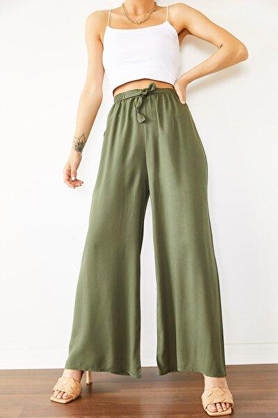 Kadın Mint Beli Lastikli Kemerli Dokuma Pantolon 0YZK5-10089