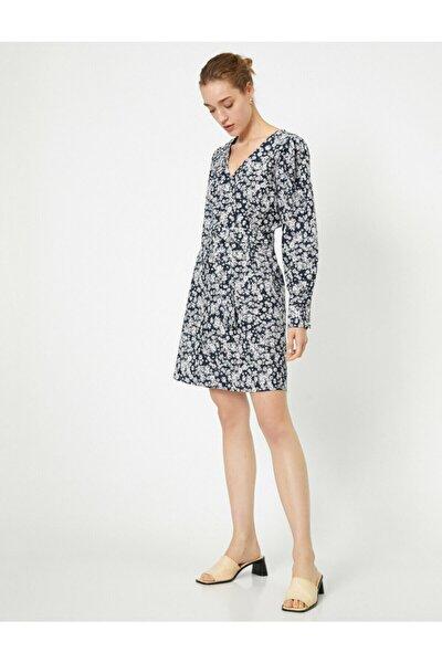 Kadın V Yaka Uzun Kollu Desenli Midi Elbise