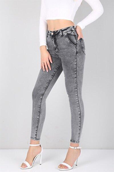 Füme Yüksek Bel Likralı Bayan Kot Pantolon