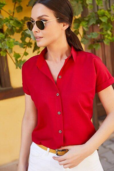 Kadın Bordo Kısa Kol Gömlek Arm-19Y001065