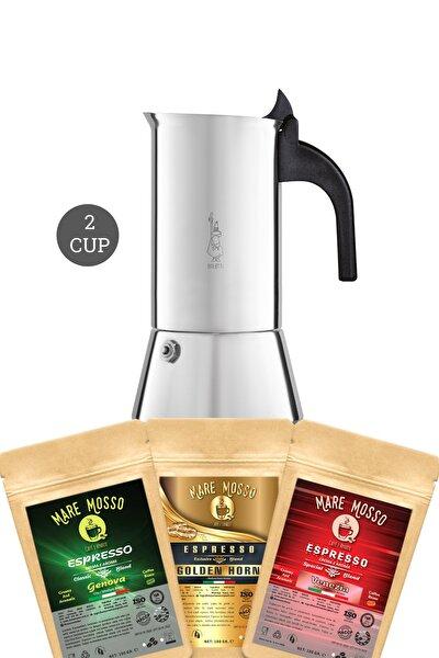 Bıalettı Moka Pot Venus Inductıon 2 Cup + 100 Gr X 3 Paket Espresso Kahve Hediye