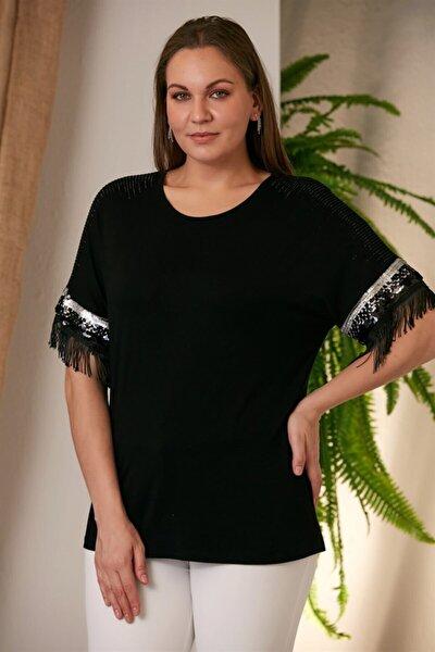 Kadın Siyah Kolları Püsküllü Büyük Beden T-Shirt