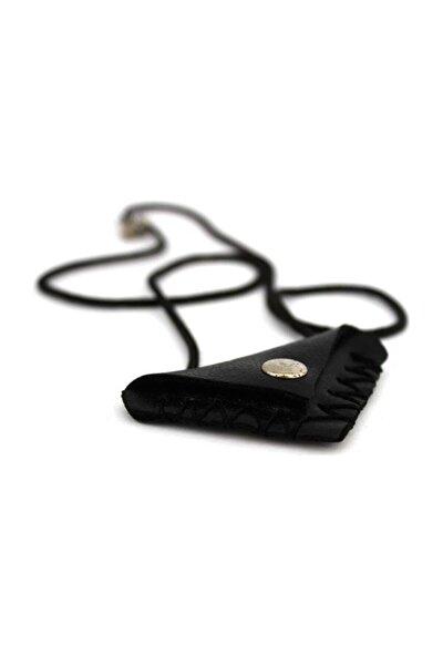 Unisex Siyah Üçgen Boş Deri Cevşen Kabı Kılıfı Askılı Kolye