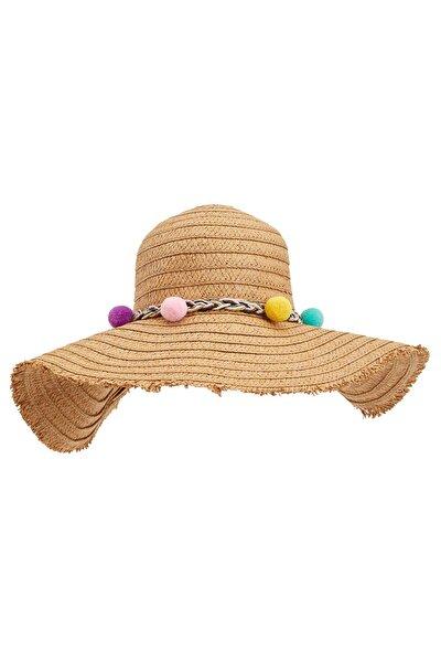 Kadın Renkli Ponpon Detaylı Hasır Şapka