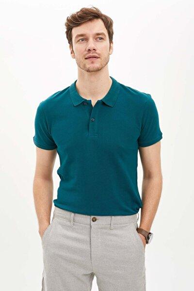 Erkek Yeşil Polo Yaka Regular Fit Basic Pike T-Shirt S4004AZ.20SM.GN1