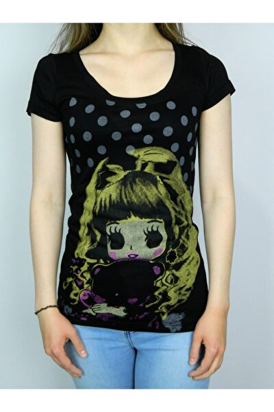 Kadın Siyah Uzun T-shirt